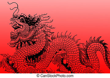 The Dragon of Chinese sculpture of graphic.