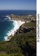 cape of good hope - the dramatic coastline viewed from cape...
