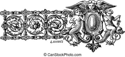 The drawing of first bracelet made by Francois-Desire Froment vintage engraving