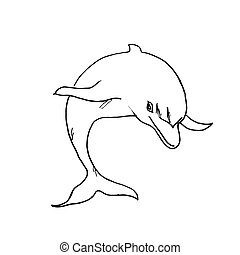 The drawn dolphin. Vector