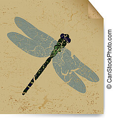 The dried dragonfly on old book sheet. Vector - The...