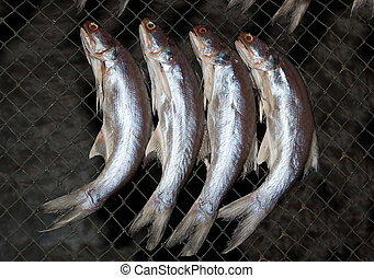 The Dried fish at market