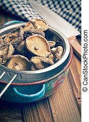 dried shiitake mushrooms in colander - the dried shiitake ...