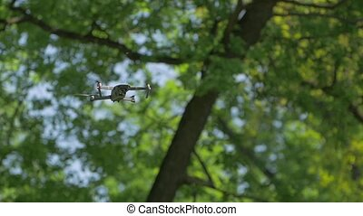 The drone in forest background flies shoots video aerial photography equipment green tree leaves background backstage making off slow motion