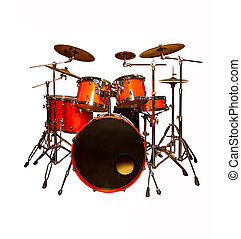 the drum set is red in lacquer isolated on a white ...