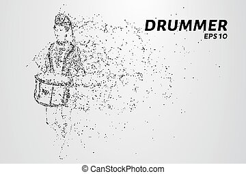 The drummer of the particles. The drummer in a school band consists of circles and points. Vector illustration.