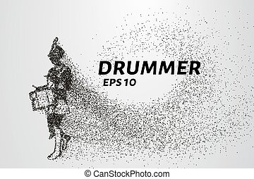 The drummer of the particles. The drummer in a school band consists of circles and points. Vector illustration