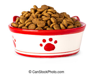 Dry cat food in a bowl, isolated on white background