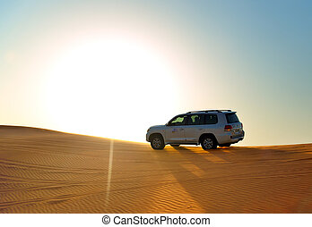 The Dubai desert trip in off-road car is major tourists...