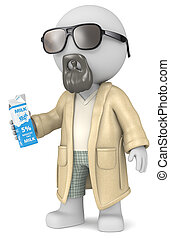 The Dude. - The Dude 3D character holding a Milk Carton.