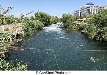 The Duden River near the Waterfall in Antalya, Turkey - The...