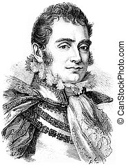 The Duke of Berry, vintage engraving. - The Duke of Berry,...