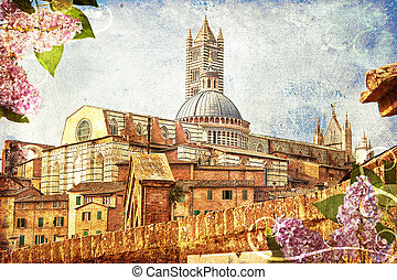 The cathedral of Siena, Tuscany, Italy in spring. A retro postcard image on canvas with a frame of lilac flowers.