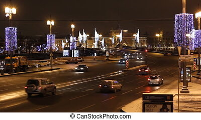 The Dvortsovii Bridge in St Petersburg (Russia) at night