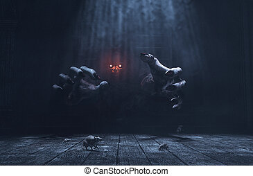 The dwelling, The place has it own devil, Monster in haunted house,3d illustration