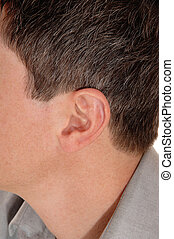 The ear of a young man.