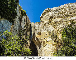 The Ear of Dionysius, ancient Syracuse on Sicily, Italy.