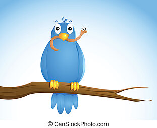 the early bird.... -  blue bird with a worm in his beak