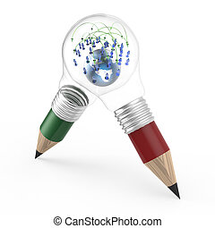 the earth and social network inside a pencil lightbulb