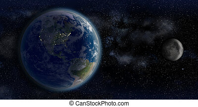 The Earth and the Moon from space on a star field backdrop