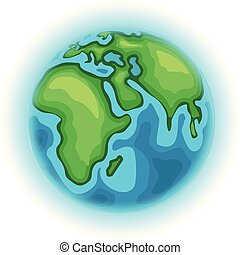 The Earth. Cartoon style vector illustration isolated on white background