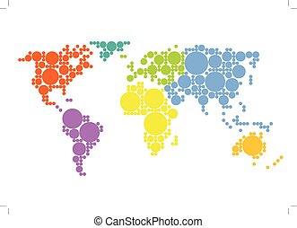 Colorful world map showing Earth with all continents.