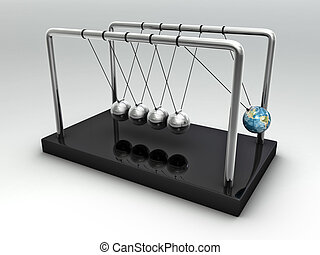 The Earth in Newton's Cradle over white