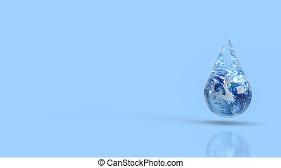 The earth in water drop for ecology concept 3d rendering