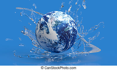 The earth in water splash for ecology concept 3d rendering