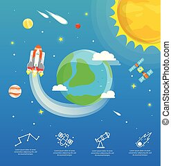 The earth infographic in universe concept.