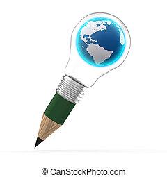 the earth inside a pencil lightbulb
