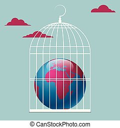 The earth is in a bird cage. Isolated on blue background.