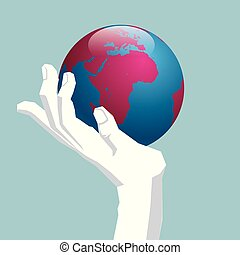 The earth is in the hand. Isolated on blue background.