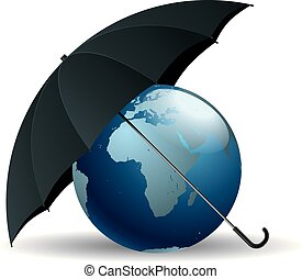 The earth is under an umbrella, Isolated over white background.
