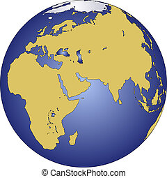 The Earth planet with Continents