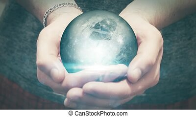the earth revolves in man hands