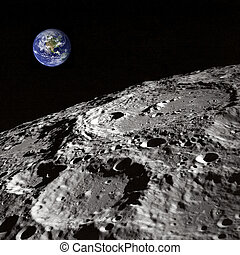 Earth rising - The Earth rising from the Moon perspective