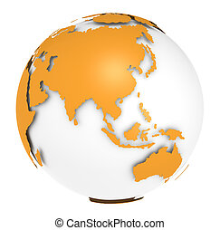 The Earth rotation view 1. - The Earth, Orange Shell design....
