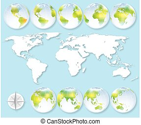 Set of nine globes with earth map showing all continents.