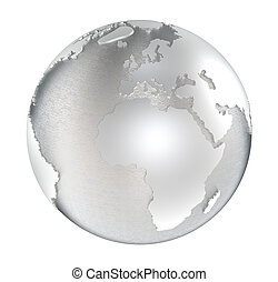 The Earth made of steel. Water areas brushed steel and land polished. Isolated.