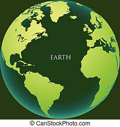 The earth with continents on a green background
