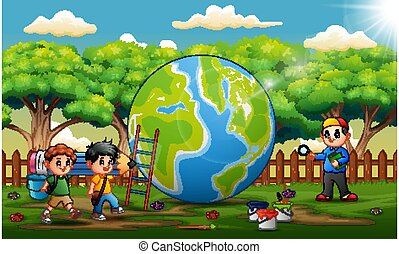 The earth with three school boys in the park