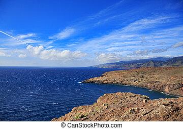 The east coast of Madeira Island near Canical, Portugal