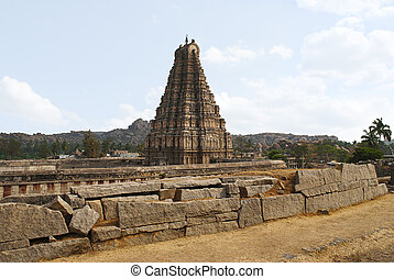 The east facing tower (gopuram) of Virupaksha Temple, Hampi,...