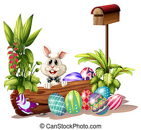 The easter bunny near the mailbox
