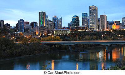 The Edmonton, Canada city center at night