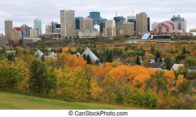 Edmonton, Canada City Center in autumn, a timelapse - The...