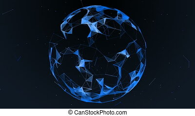 The effect of the plexus. Abstract futuristic sphere on a dark background.