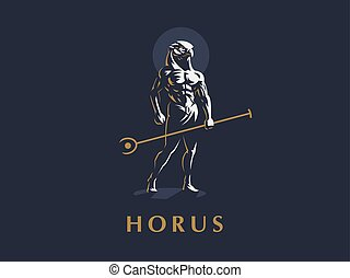 The Egyptian god Horus. Vector illustration.