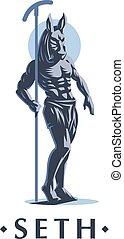The Egyptian god Seth. Vector emblem.